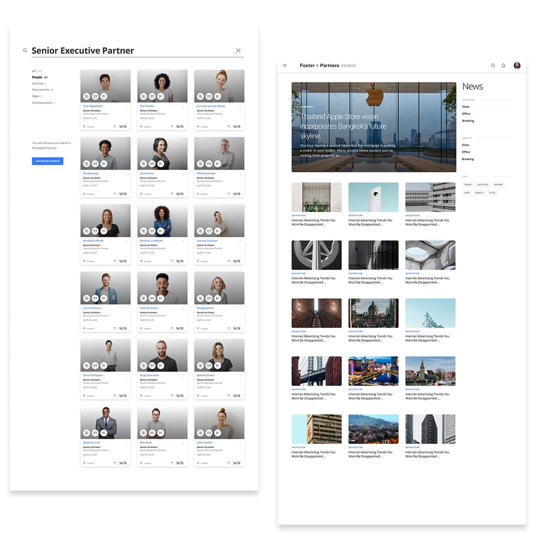 A web design mockup of Foster and Partners live search function on mobile and news page on the company intranet built on Umbraco by Cogworks Umbraco Gold Partner Agency London