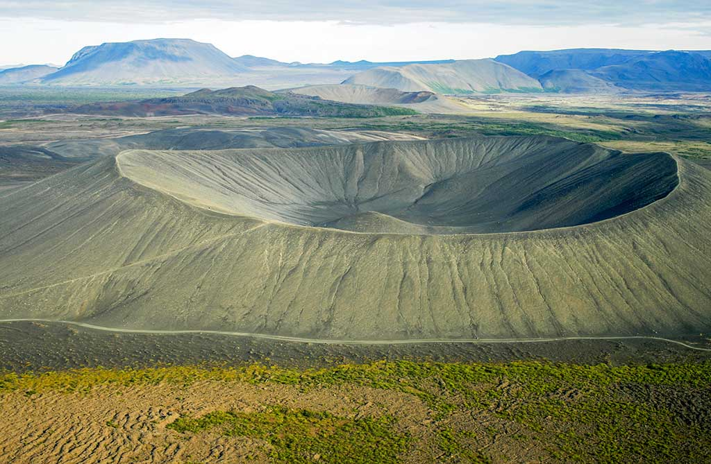Deep crater seen from helicopter. Myvatn area in Iceland