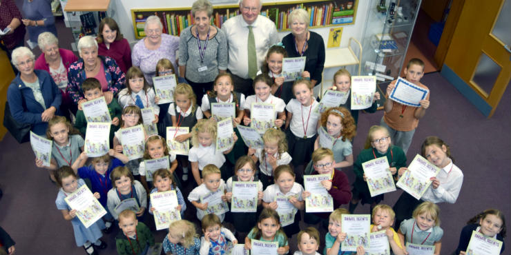 Children from Halesworth Library with their Summer Reading Challenge certificates