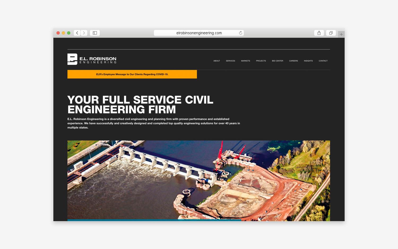 E.L. Robinson Engineering - Website desktop view