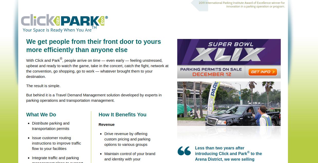 Parkmobile Click-N-Park homepage