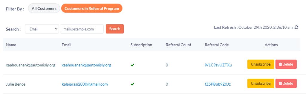 Customer in referral program
