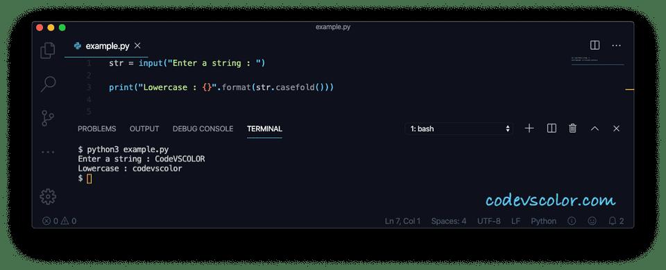 Python casefold example