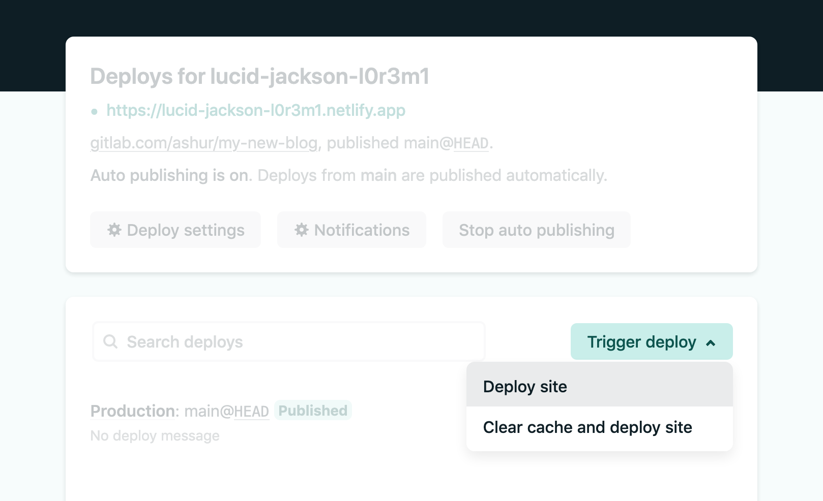 Netlify dashboard highlighting an action button, with all other text and elements faded out