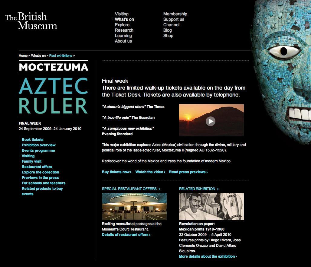 Moctezuma exhibtion page