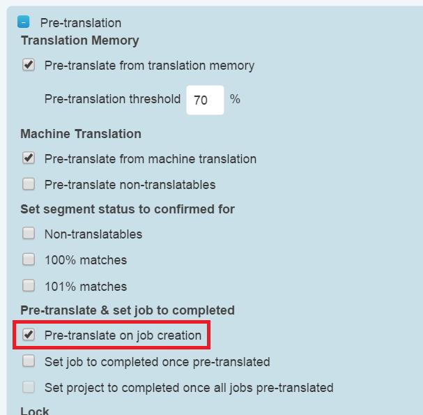 Pre-translate on job creation