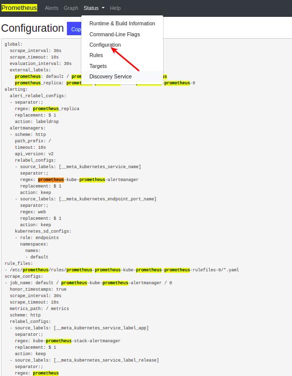Prometheus web UI showing configuration