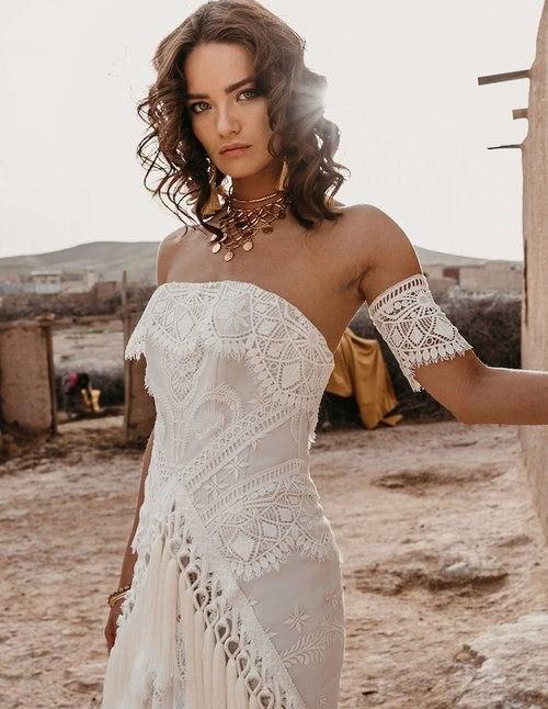 Manchettes bijou pour robe de mariée bohème