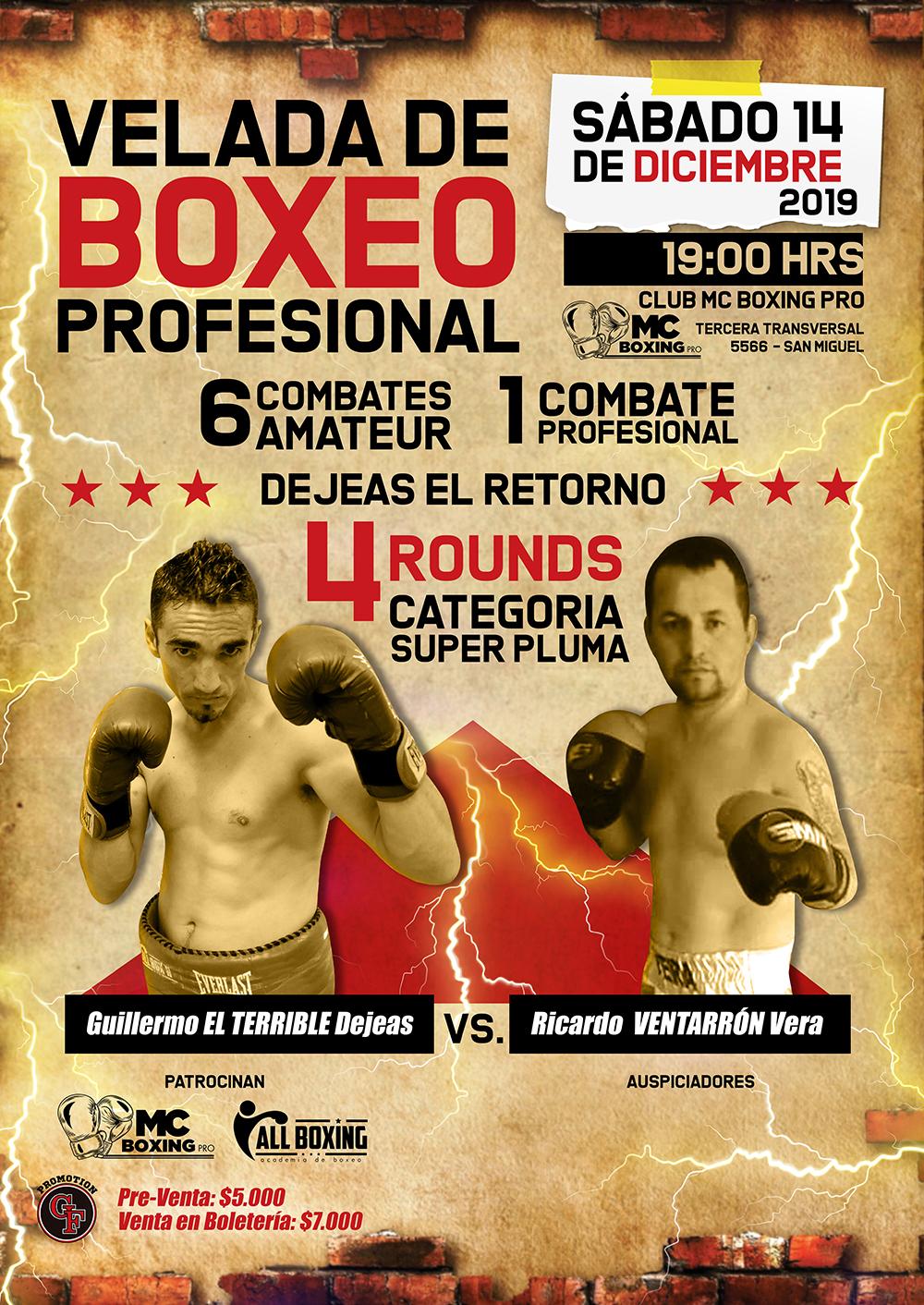 Nueva fecha - Velada de Boxeo Profesional - Dejeas,,, su retorno