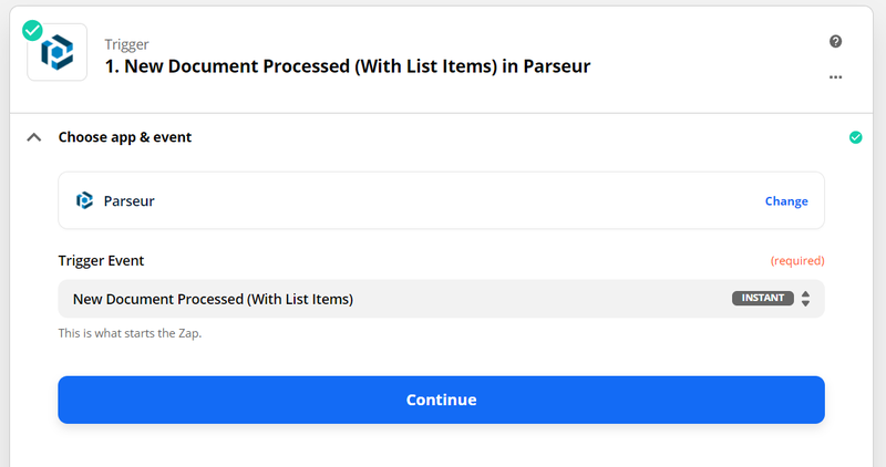 "choose ""new document processed (with list items)"""