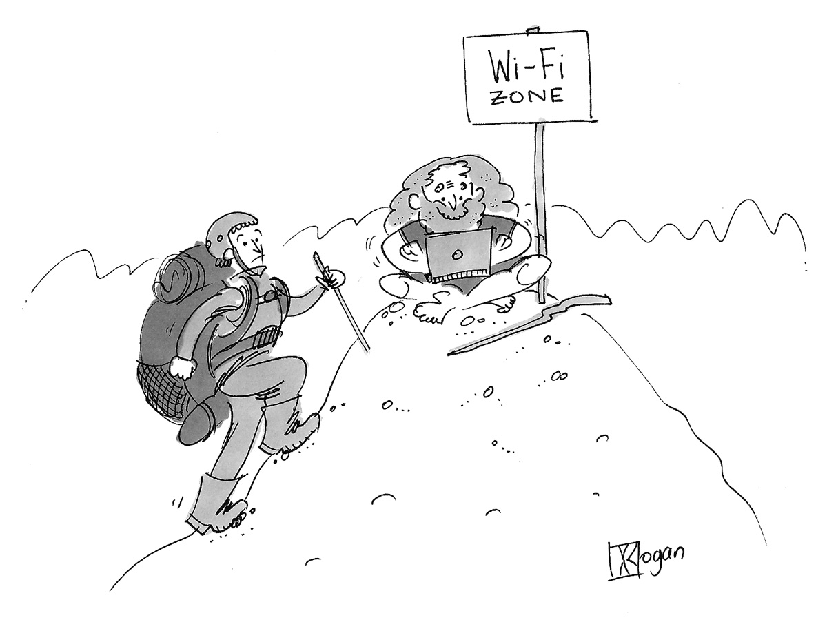 (Climber reaches Guru atop a mountain, in a Wi-Fi zone.)