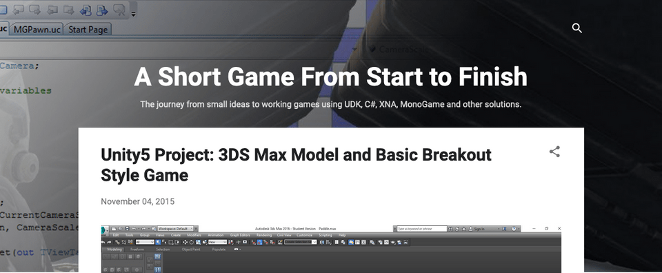 "Screenshot of ""A Short Game From Start to Finish"" blog on Blogger platform"