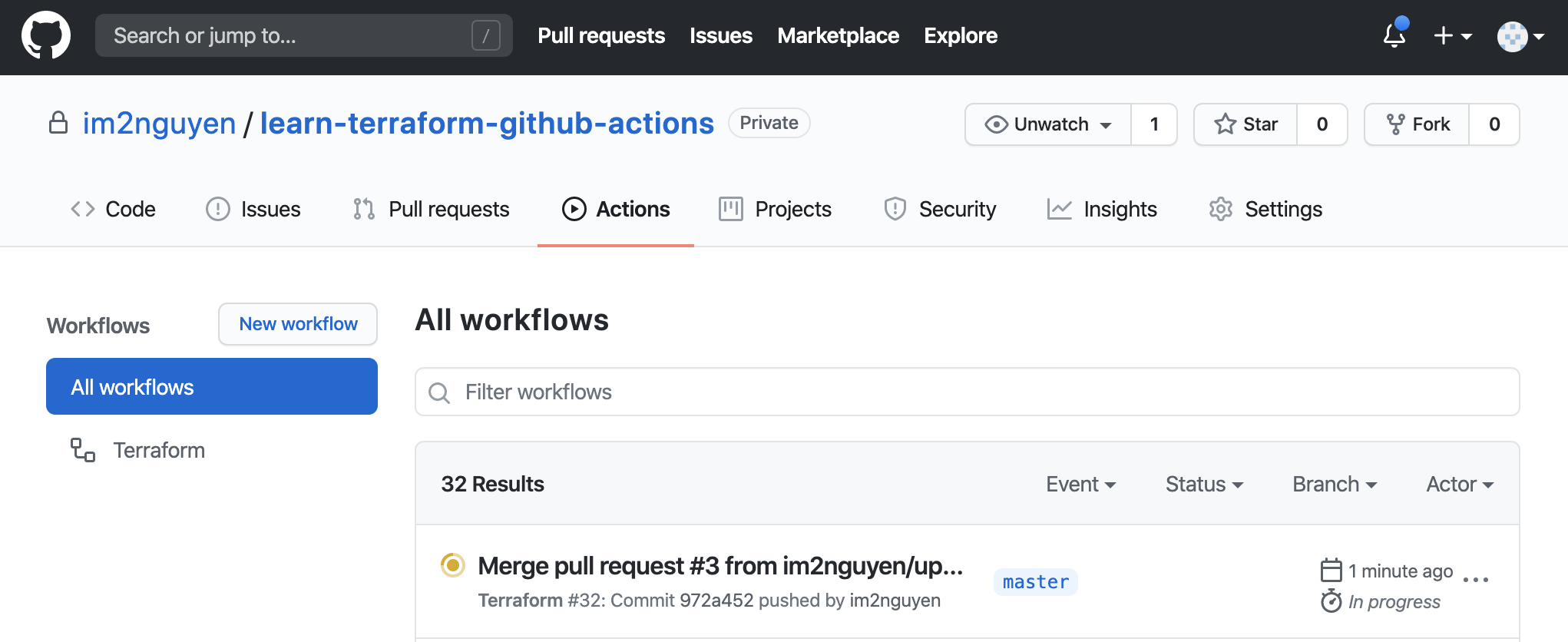 Merged pull request on Actions page of GitHub repository.