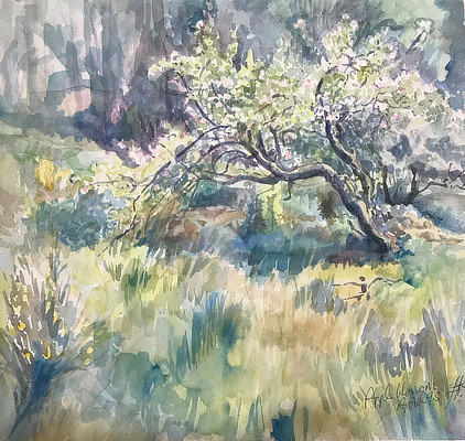 watercolour painting of a tree in pastel green shades