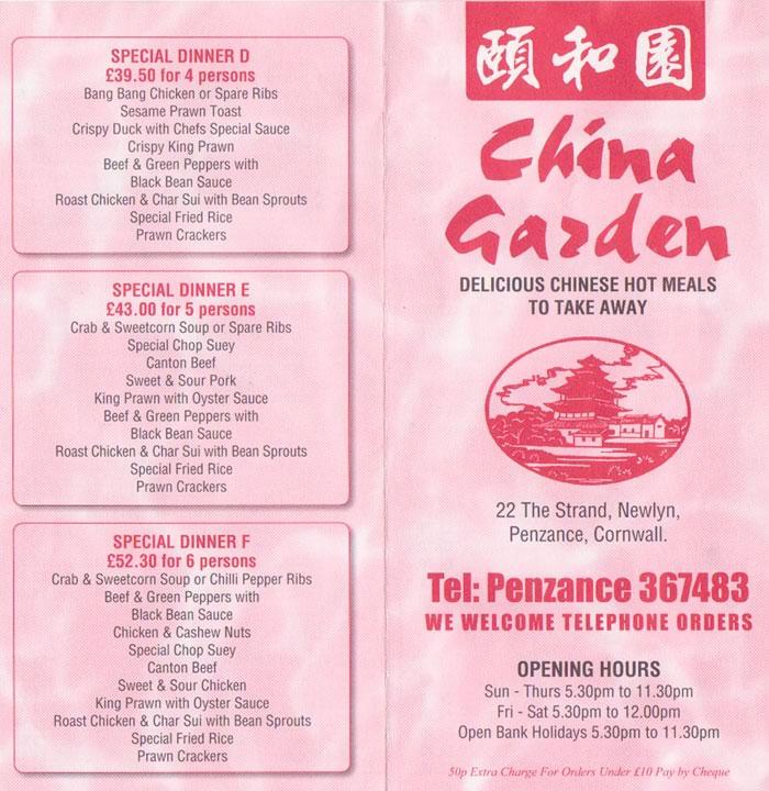 china garden penzance takeaway menu