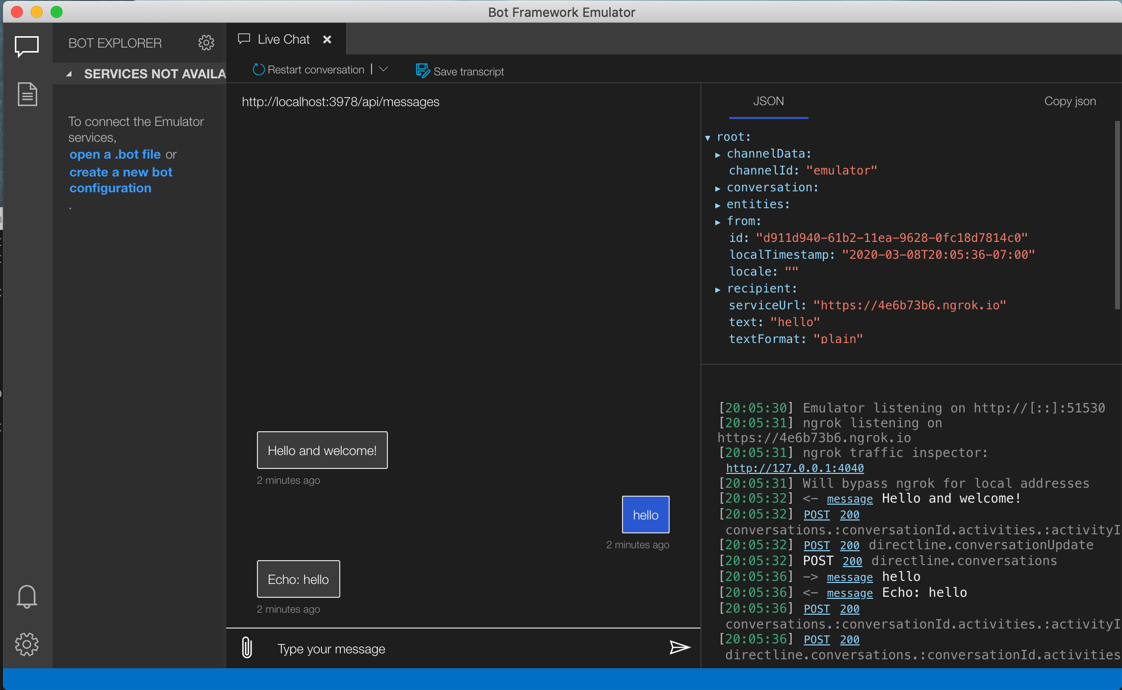 ChatBot connected with emulator