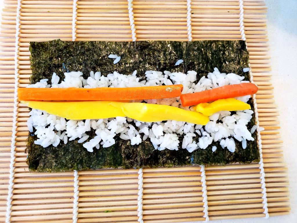 Mango Sushi Roll with Pickled Carrots | Let's Talk Vegan