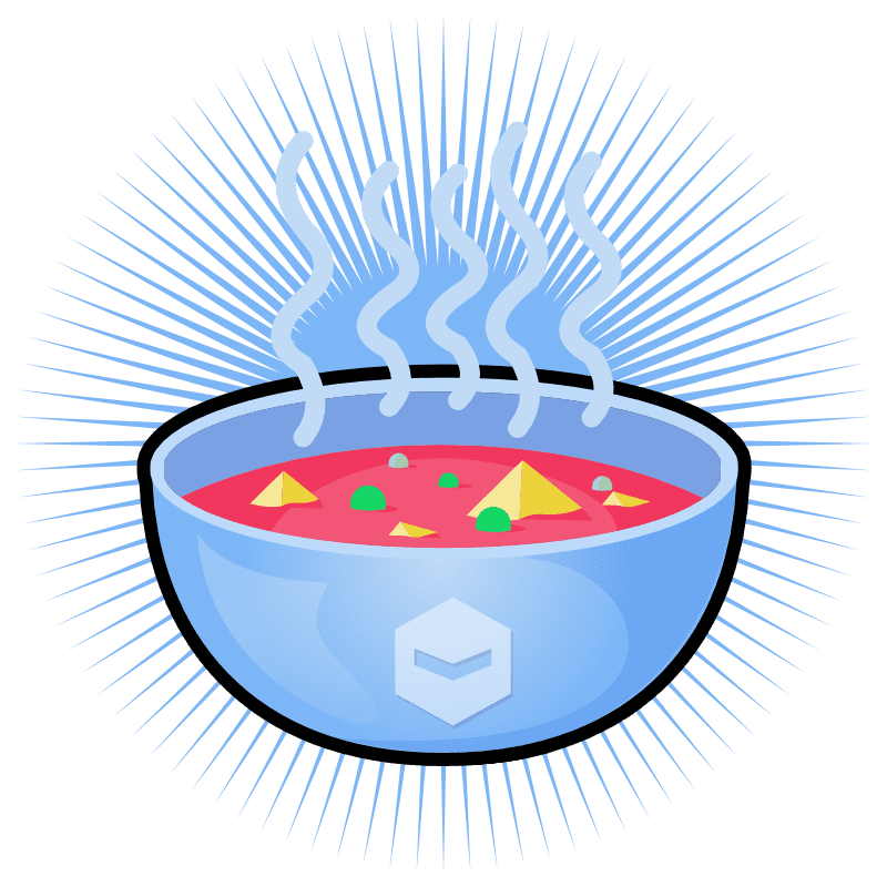 A steaming bowl of strange looking soup with the Deviant Robot logo on the bowl.