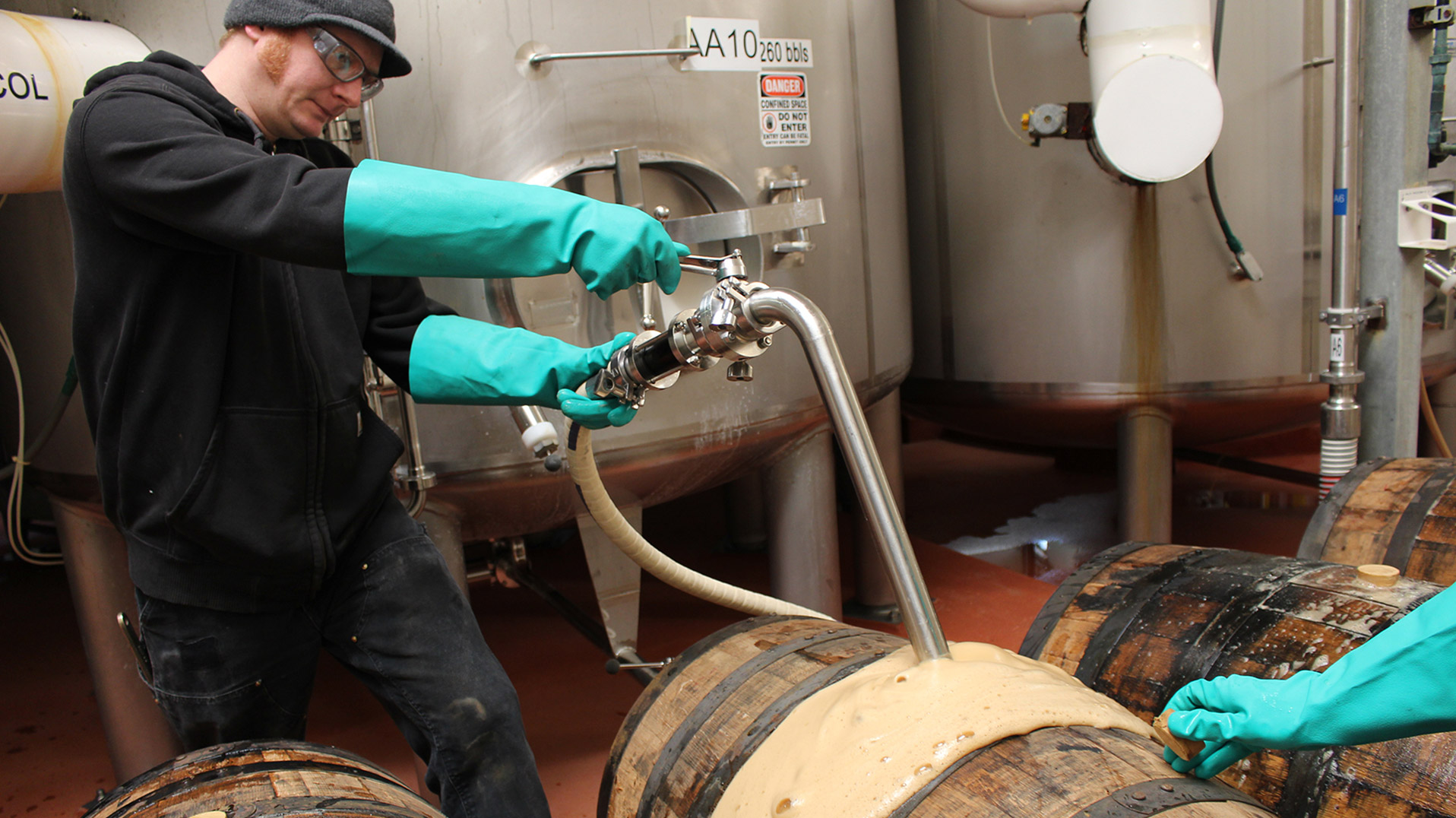 Brewer filling barrels