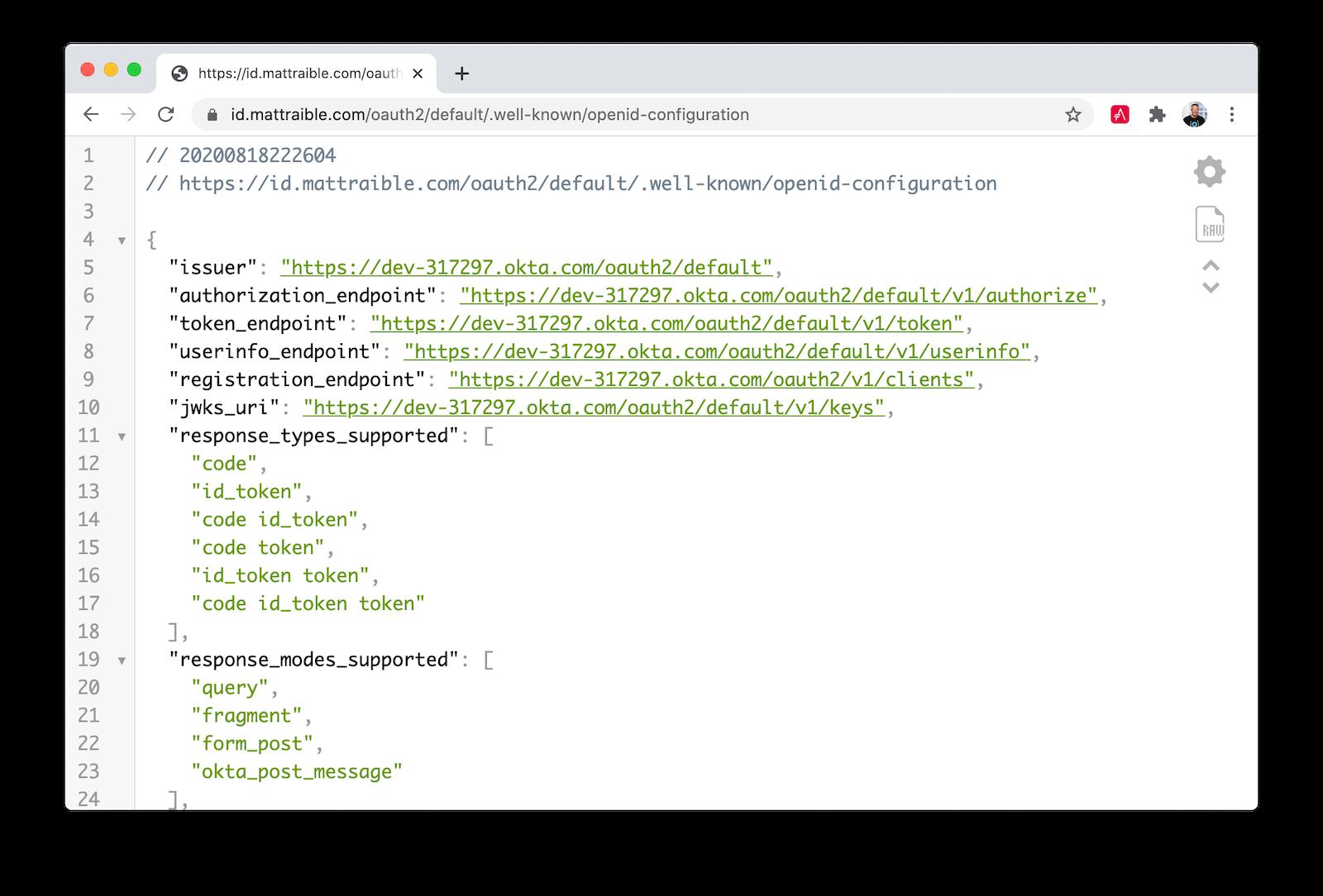 OIDC configuration endpoint JSON