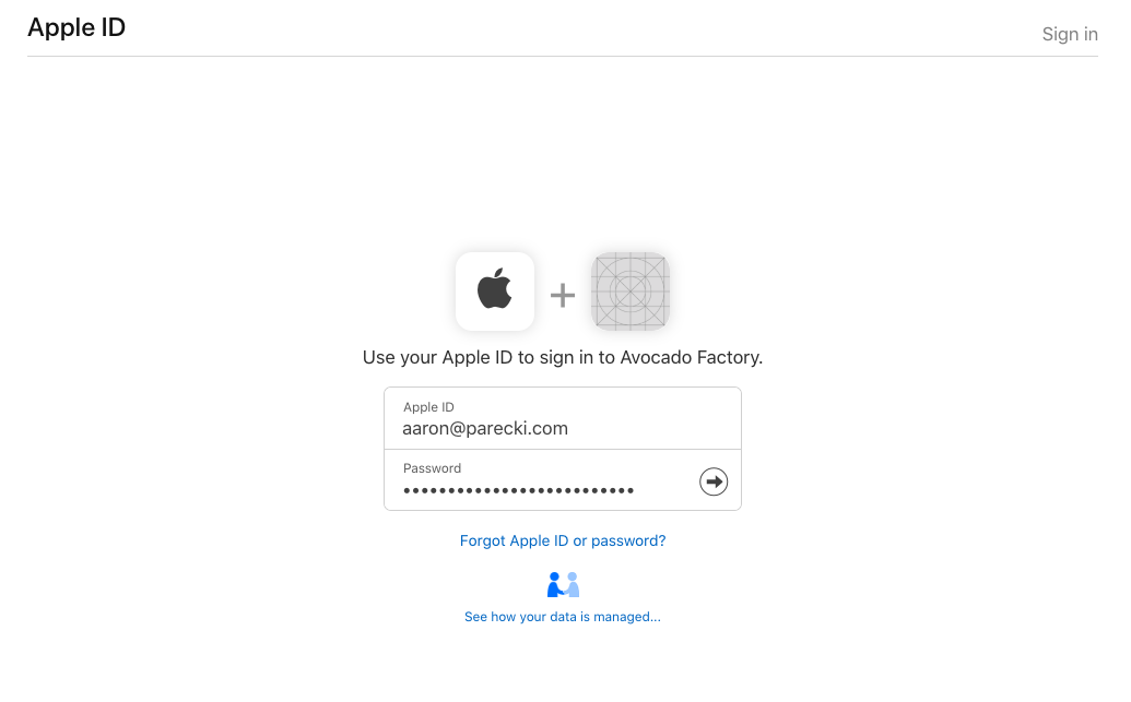 Sign In with Apple Screen