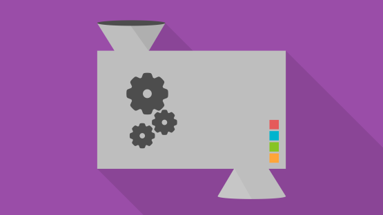 Illustration of an input/output machine with gears and colorful buttons.