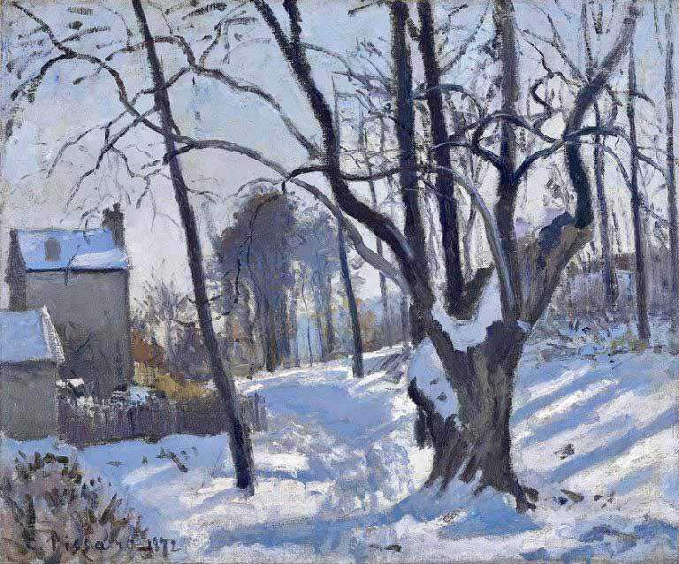 Pissarro's 1872 work Snow a Louveciennes.