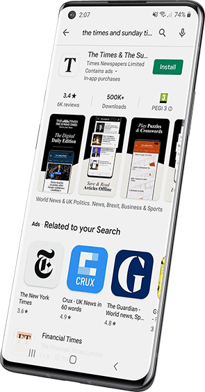 The Google Play app store showing a listing for The Times app on an Android device screen