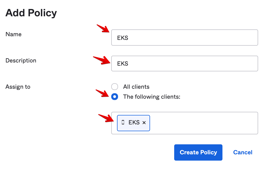Okta Admin Console - Authorization Server - Add Policy