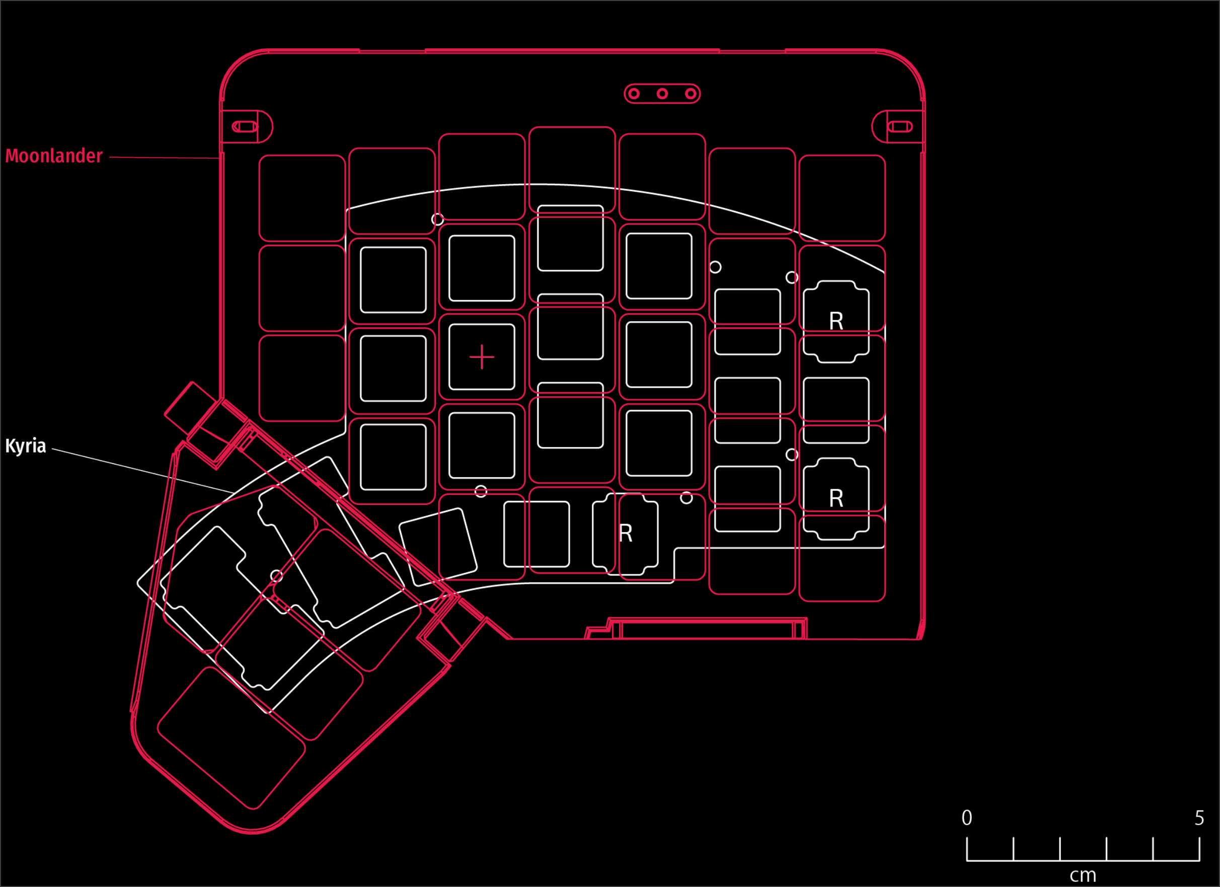Comparison between the Moonlander and Kyria (a small split keyboard)