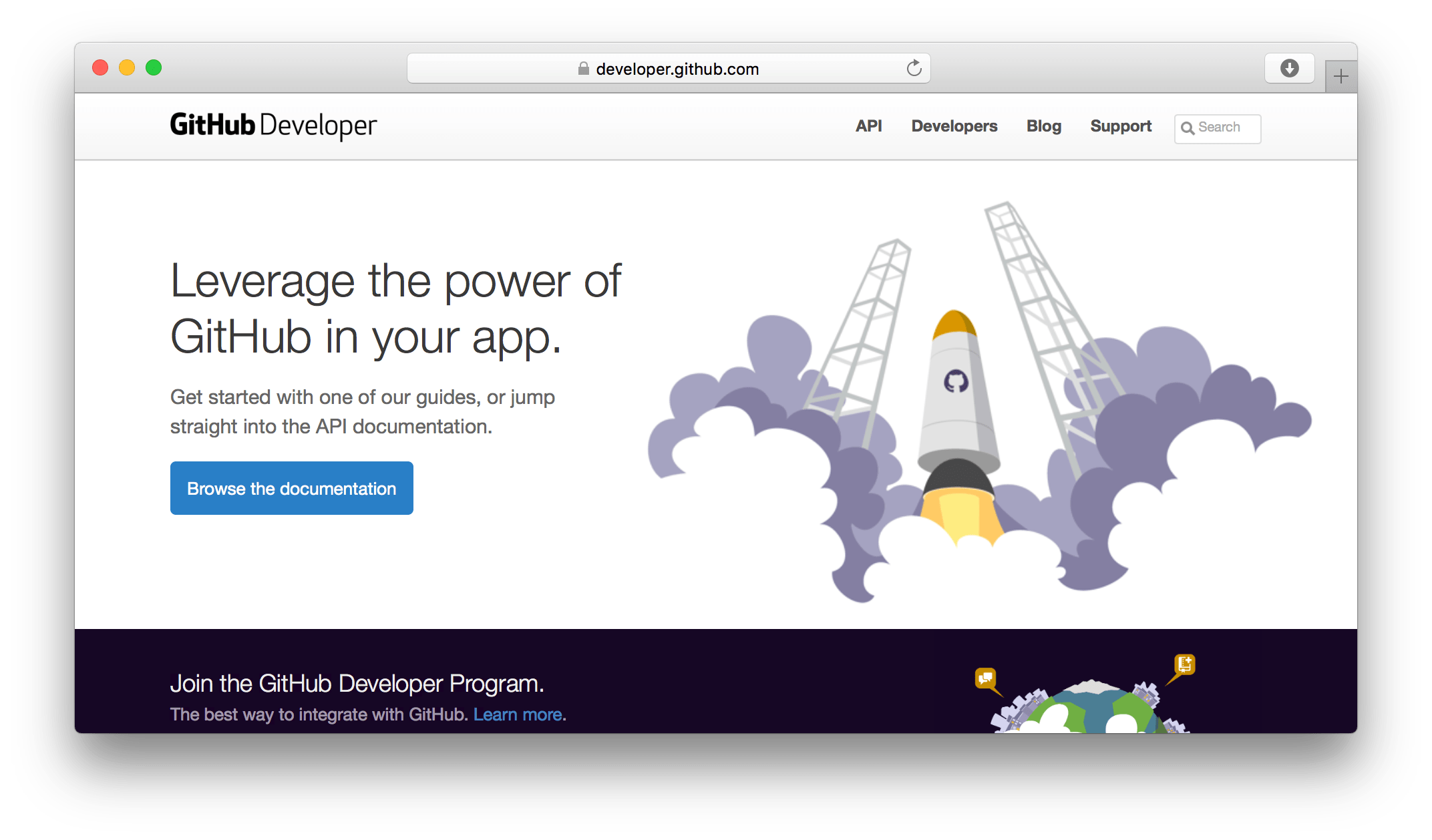 GitHub developer site screenshot