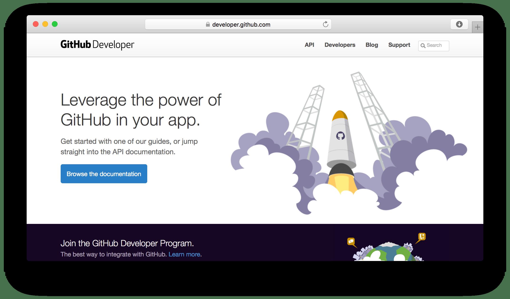 GitHub developer site screenshot