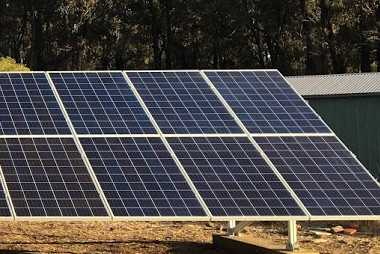 Solar panels on ground mounts
