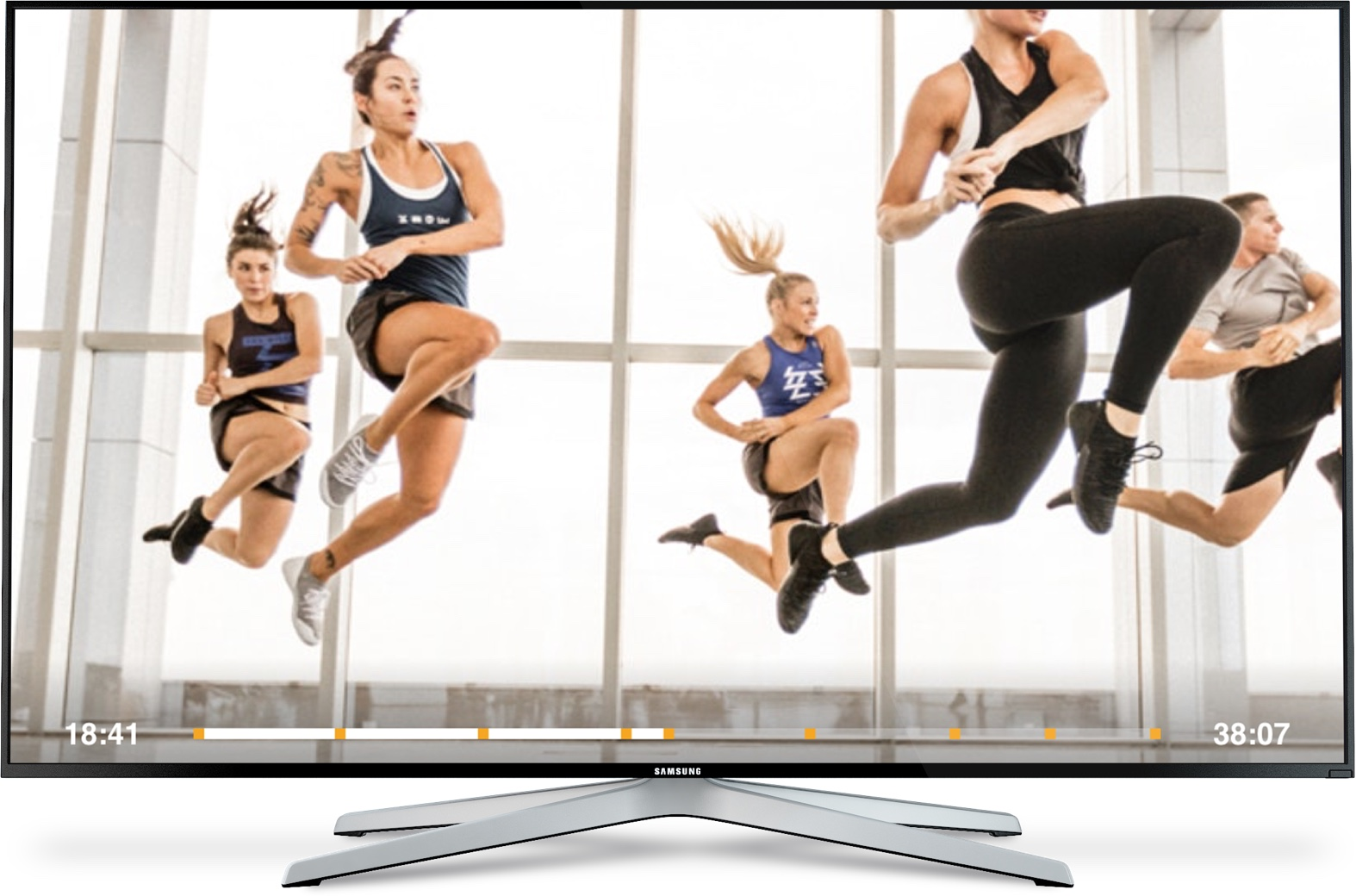 Image of Les Mills On Demand streaming video workout. 4 athletes exercising.