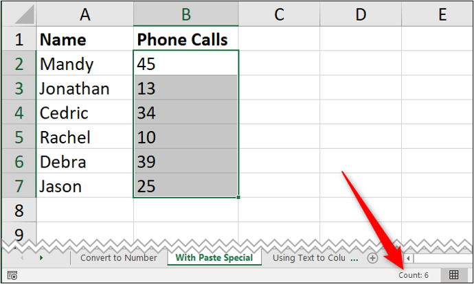 """A simple Excel spreadsheet containing data for """"name"""" and """"number of phone calls."""" A red arrow has been added to annotate the word """"count"""" which is shown in the bottom right, indicating that some number values have actually been stored as text"""