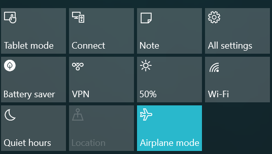 Windows 10 in Airplane Mode prevents battery charging