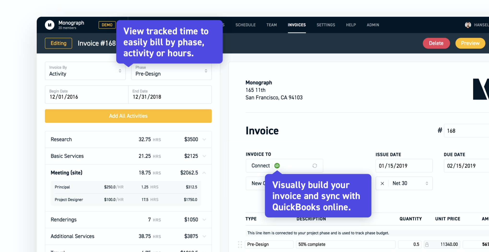 Invoice about