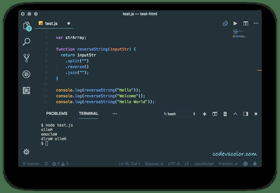 javascript reverse string