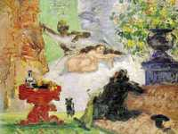 Cezanne exhibited with the other impressionists in 1874. But they almost refused to let him: even to them his 'A Modern Olympia' was baffling