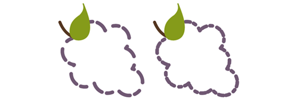 SVG grapes with dashed outline