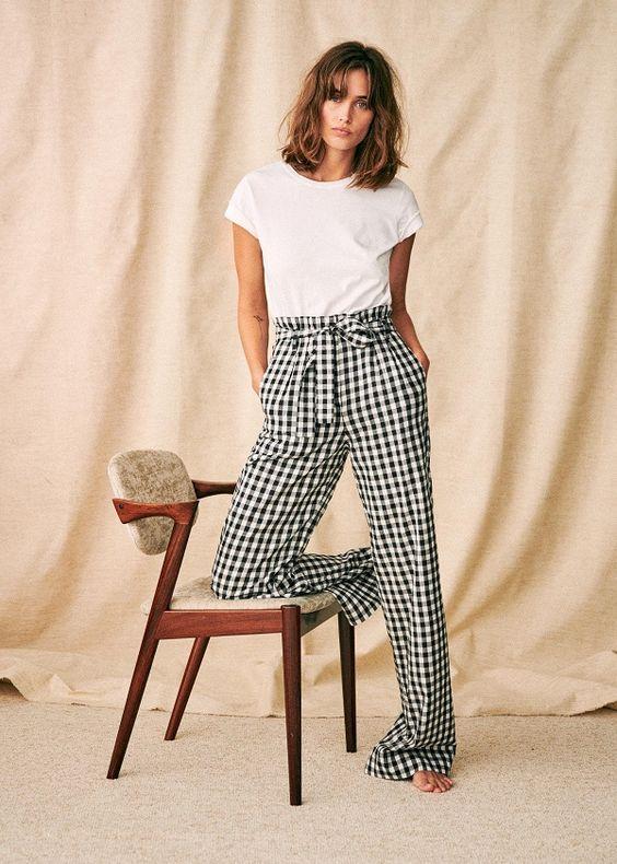 Pantalon long à carreaux