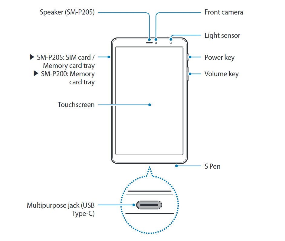 Samsung Galaxy Tab A 8 Plus Diagram