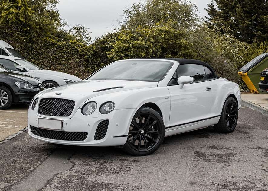 Bentley Continental GT car with untinted windows from front