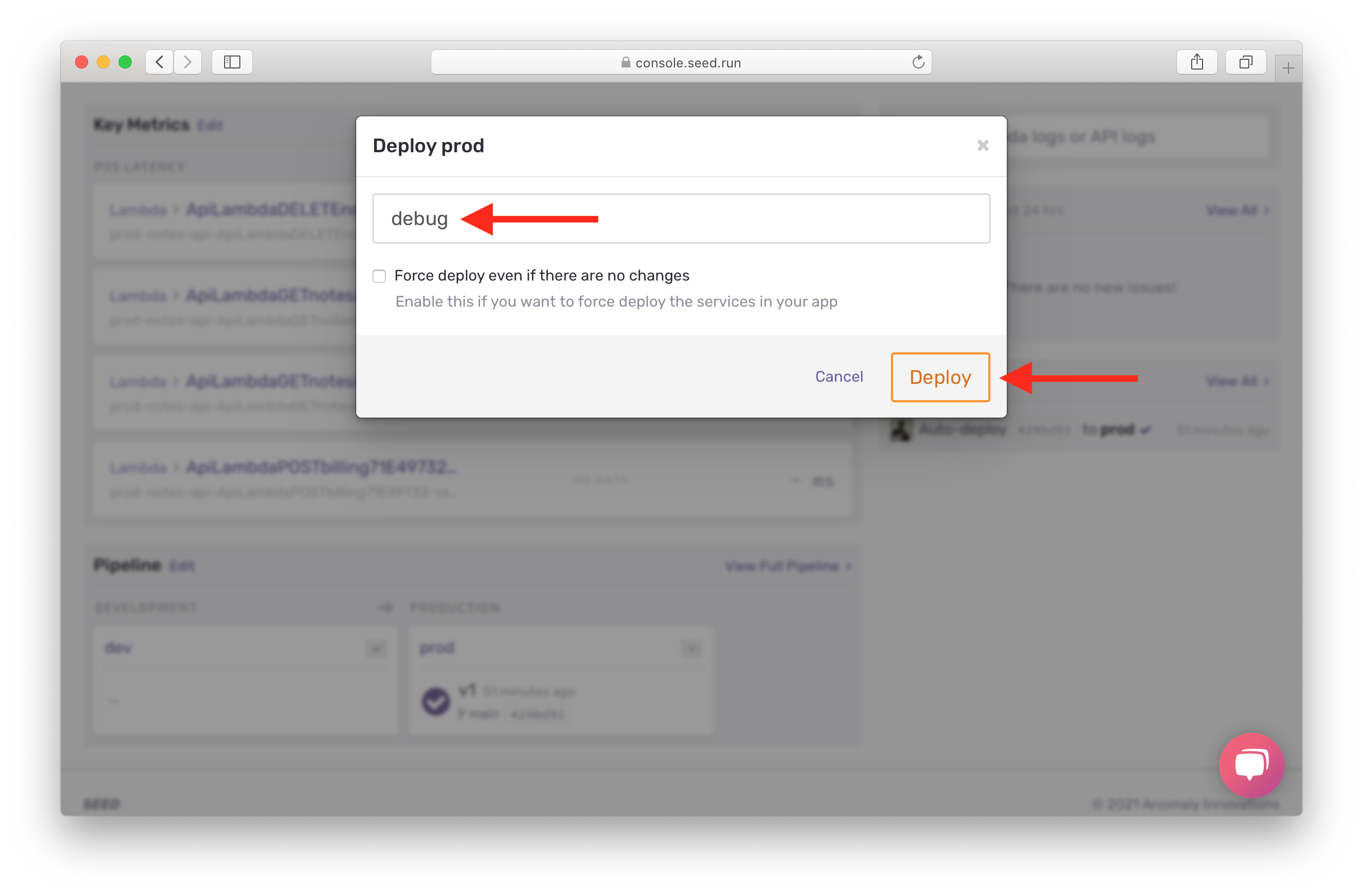Select branch and confirm deploy in Seed