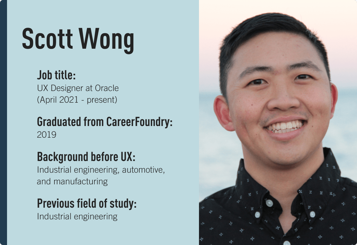 UX graduate Scott Wong, who changed careers from industrial engineering to UX design through the CareerFoundry program