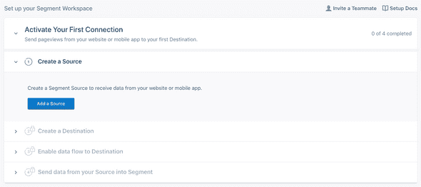 Segment's onboarding checklist gives new users a clear idea of how to integrate their SDK and move forward.