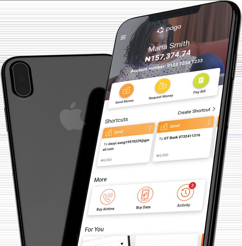 Screenshot of Paga mobile app user dashboard