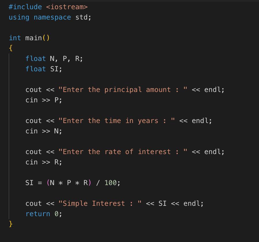 C++ program to find simple interest