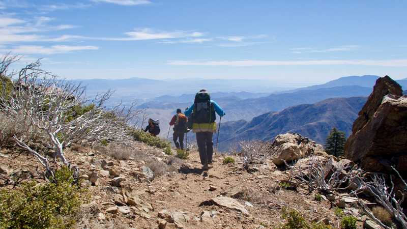 Rounding the corner of trail