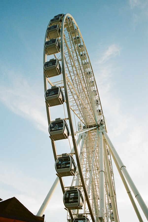 Looking up at the ferris wheel